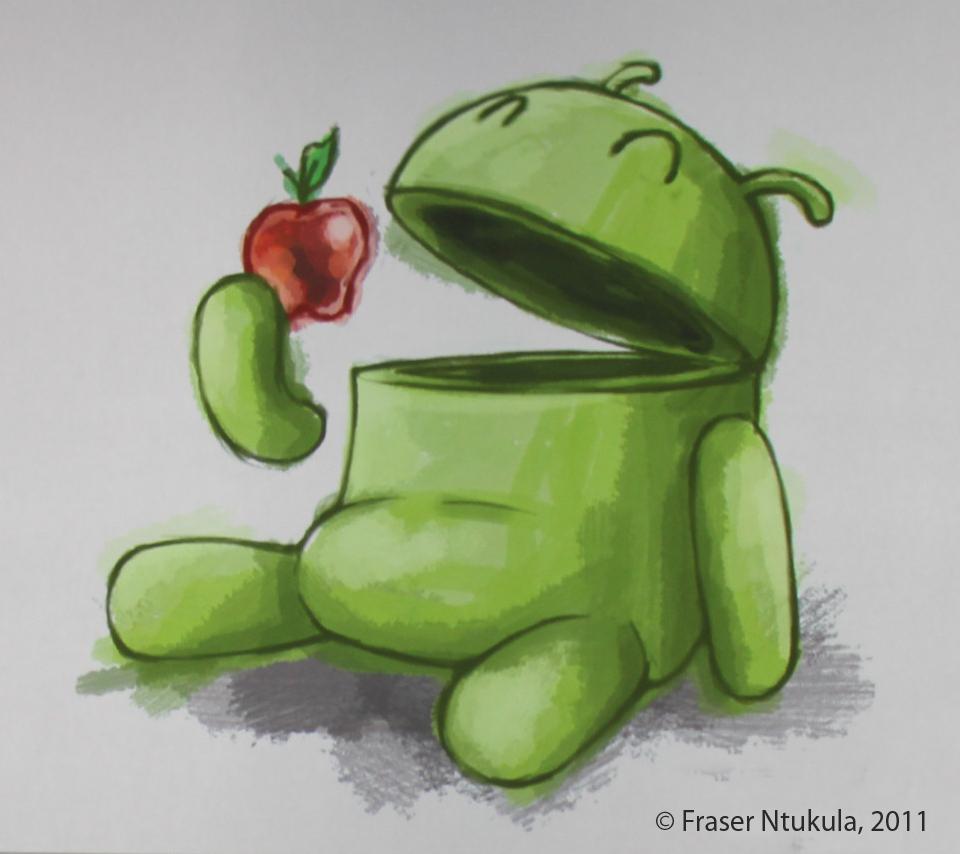Benzene 4 Ever     Android Eats Apple     un bellissimo wallpaper per