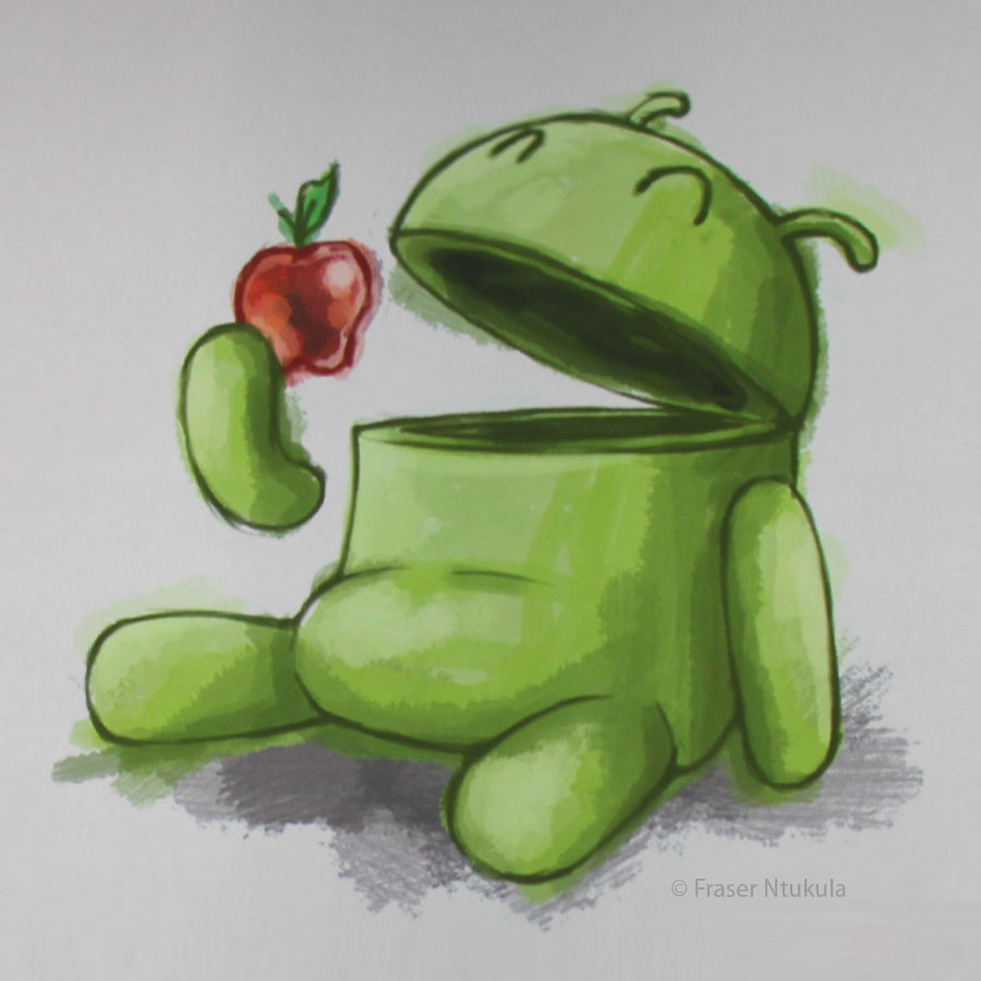 Android Robot Eat Apple Wallpaper Wallpaper Background Hd