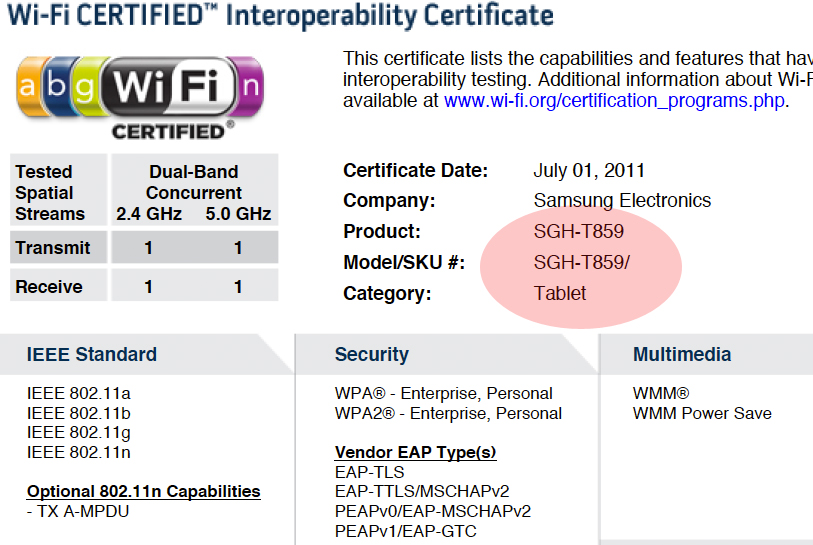 Samsung SGH-T859 to be a T-Mobile Tablet?