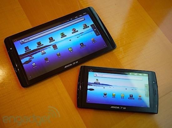 pages deux tablettes de  pouces et la gamme archos arnova g sont dispo ahong kong