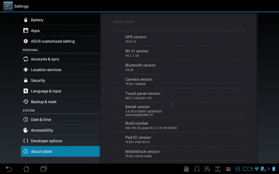 transformer prime update 2 8 550x343 ASUS Transformer Prime receives yet another update, bug fixes in tow | Tech NEWS