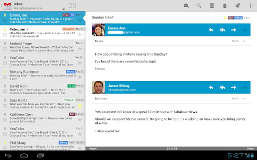 gmail honeycomb ice cream sandwich Google Updates Gmail App for Honeycomb, brings Android 4.0 features with it