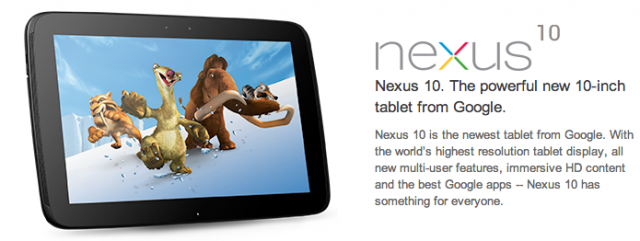 Nexus 10 Google Play WiFi
