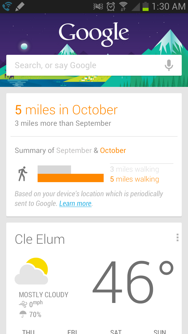 Google Now now tracks the distance you walk, bike or ... - photo#27