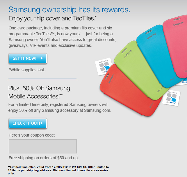 Get a free Flip Cover and NFC Tectiles by registering it with Samsung