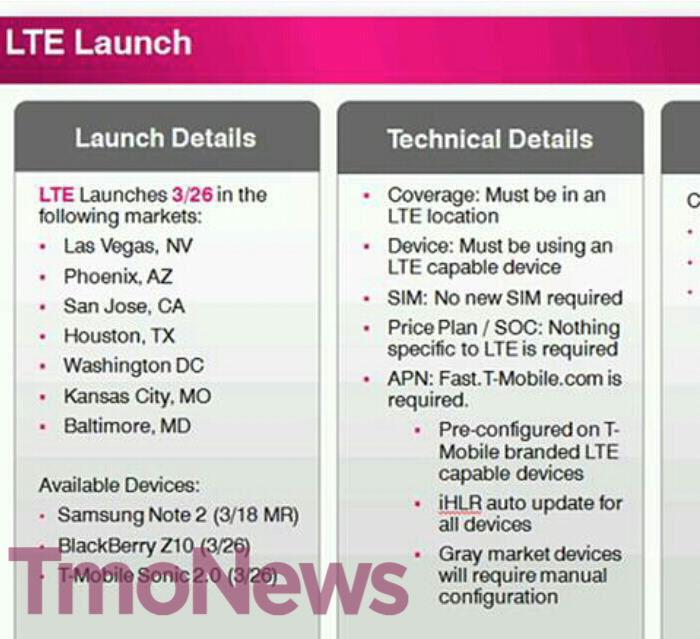 t mobileu002639s first 4g lte markets and launch date leaked leaked t mobile launch roadmap offers away lg optimus l9 release date 700x639