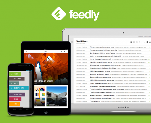Feedly logo on green background with a smartphone, next to a table, next to a laptop screen, all showing Feedly.