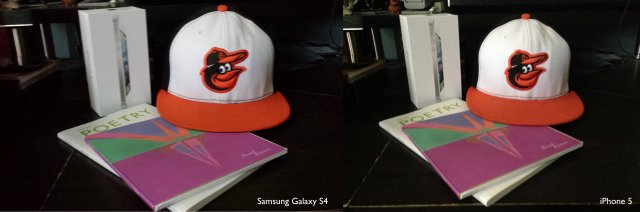 Camara Galaxy S4 Vs iPhone 5 en interior
