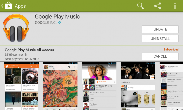 Google Play Music Play Store listing