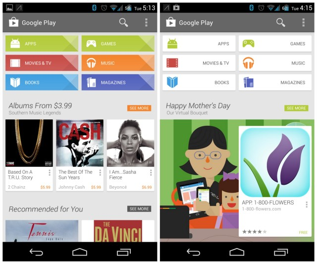 Google Play Store new (left) vs old (right)