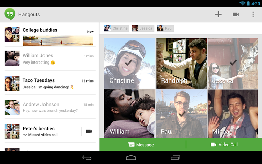 Google Plus Hangouts tablet