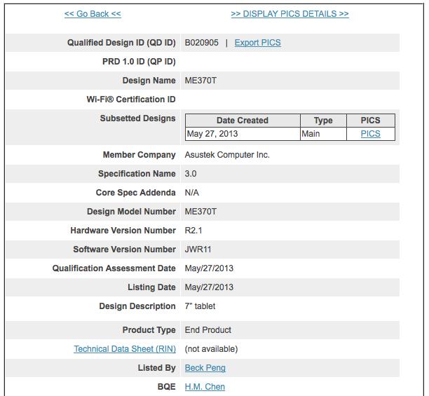 Nexus 7 Bluetooth SIG JWR45B