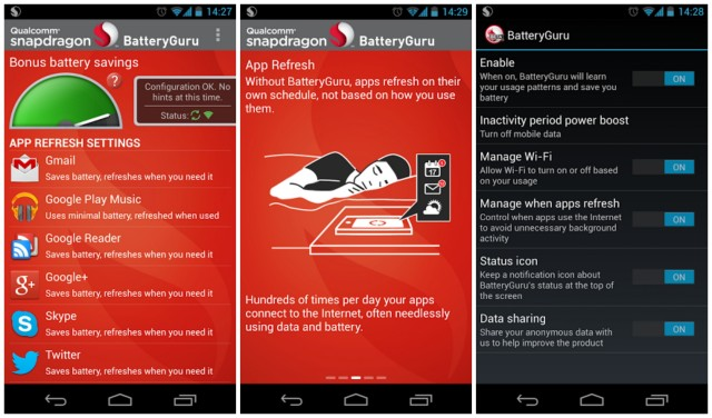Qualcomm Snapdragon BatteryGuru app screenshots