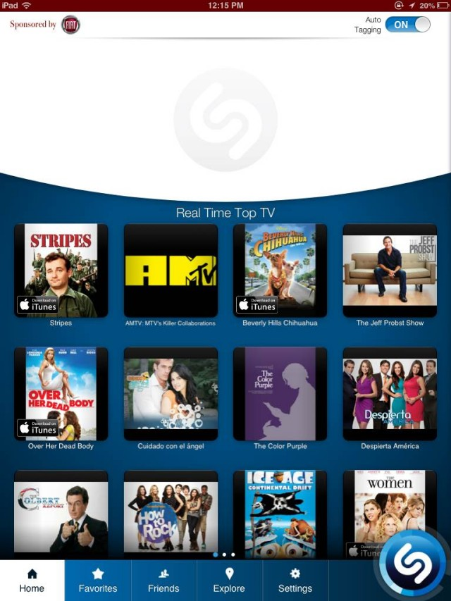 Shazam update iOS home