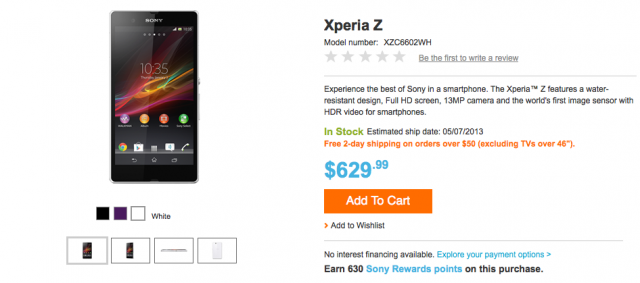 Sony Xperia Z unlocked 630 dollars