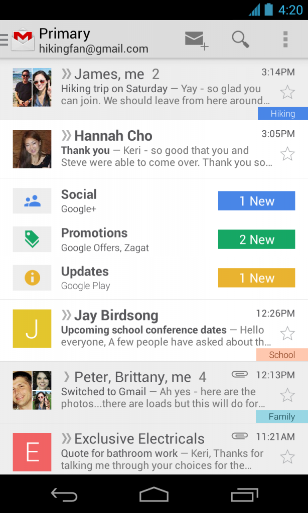 google gmail inbox sorting