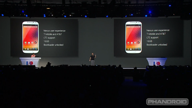 Samsung Galaxy S4 google edition announcement