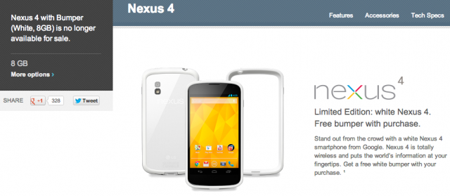 8GB white Nexus 4 with bumper sold out