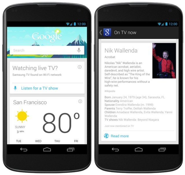 Google Now cards update TV google offers