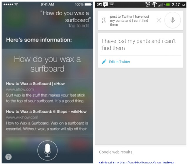 iOS 7 Siri vs Android 4.2 Google Search
