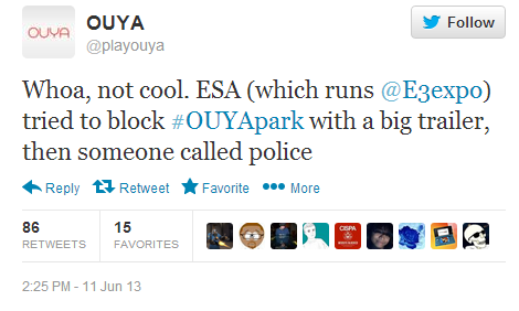 ouya twitter parking lot booth