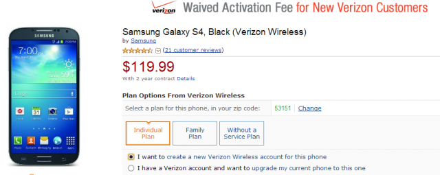 verizon galaxy s4 sale amazon