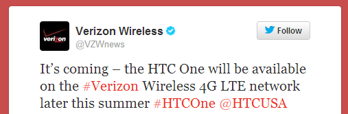 verizon htc one tweet