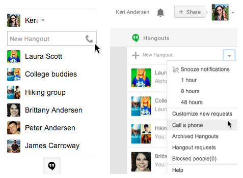 Google Hangouts phone calls Gmail