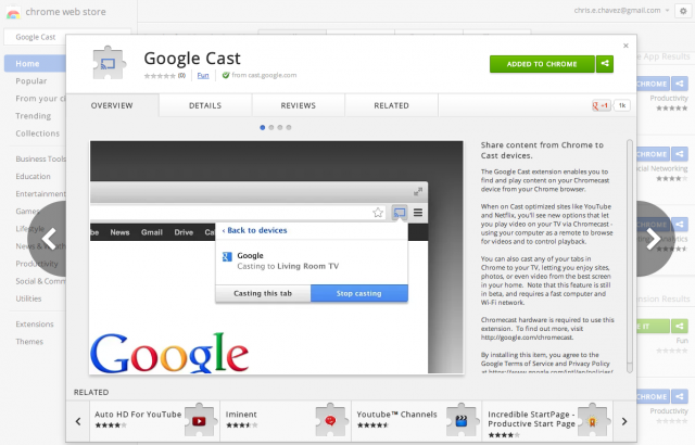 Google cast extension