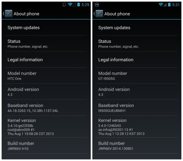 Android 4.3 update HTC One GS4 GPe about phone.jpg