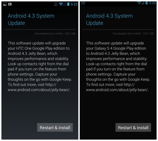Android 4.3 update HTC One GS4 Google Play edition.jpg