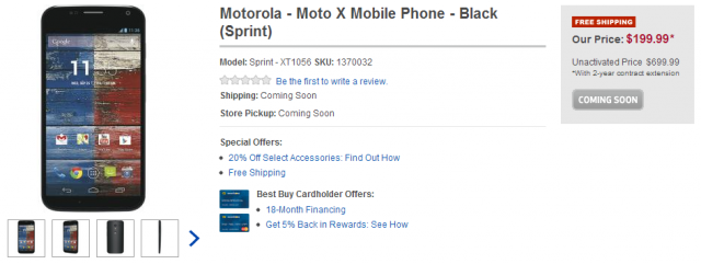 Motorola   Moto X Mobile Phone   Black  Sprint    Sprint   XT1056