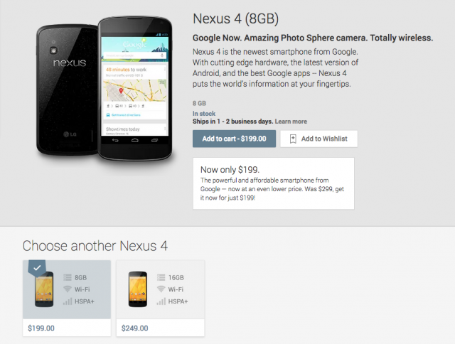 Nexus 4 price drop