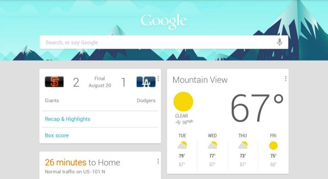 Google Now tablet screenshot