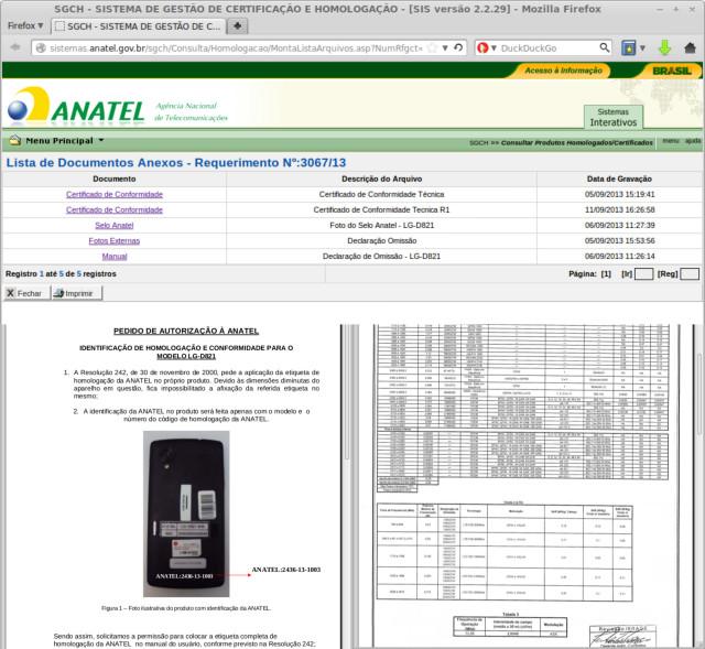 Nexus 5 Brasile Anatel deposito