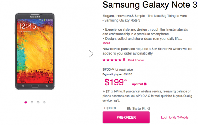T-Mobile Samsung Galaxy Note 3 pre-order
