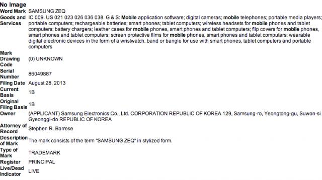 Samsung ZEQ Trademark