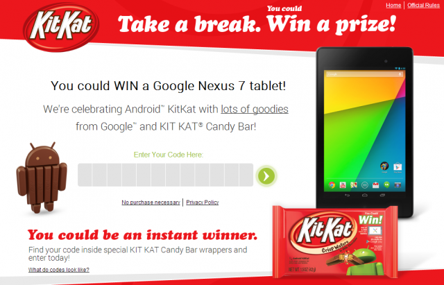 kitkat android contest