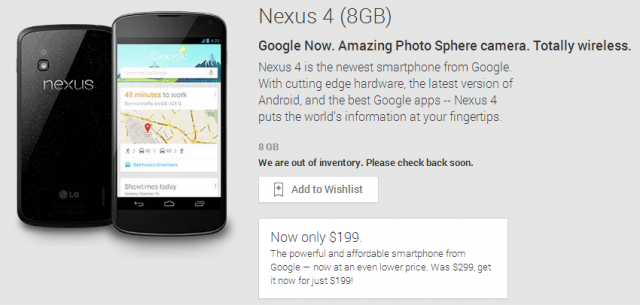 nexus 4 8gb sold out
