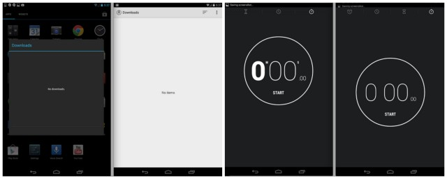 Android 4.4 KitKat downloads clock comparison