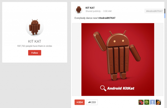 Android KitKat dancing Google Plus