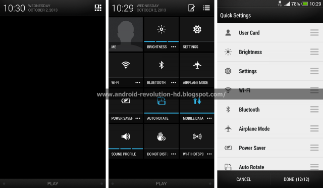 HTC Sense 5 quick settings organizer