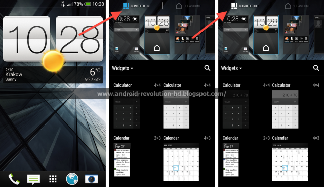 HTC Sense 5.5 BlinkFeed toggle