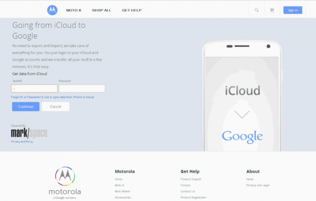Motomaker Moto X iCloud migration assistant