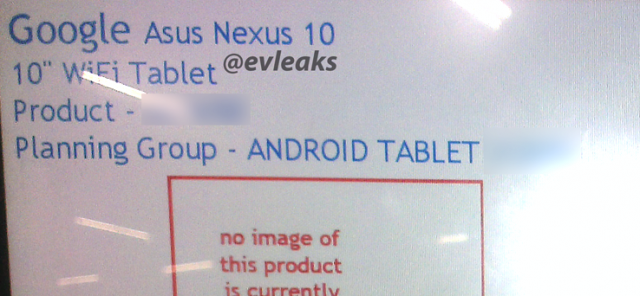 Nexus 10 leaked screen shot