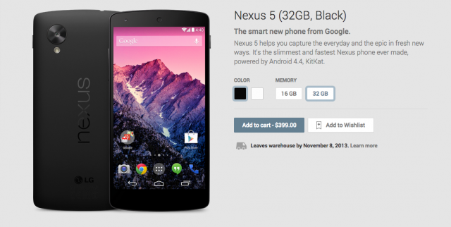 Nexus 5 Play Store now available