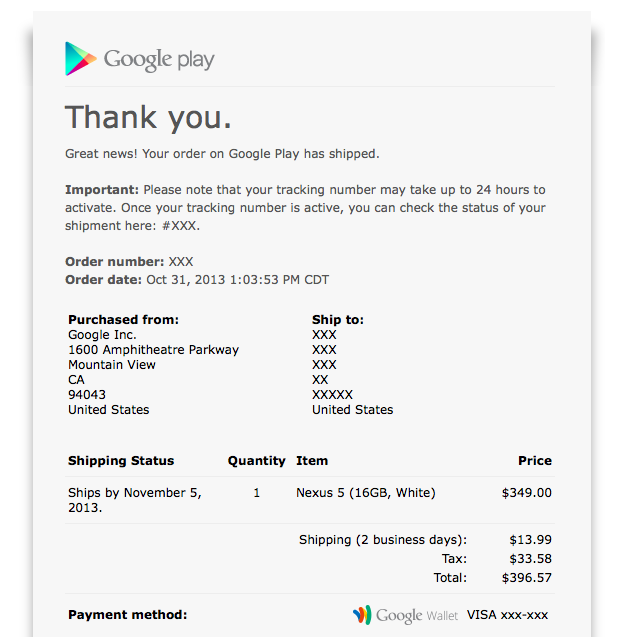 Nexus 5 shipping confirmation