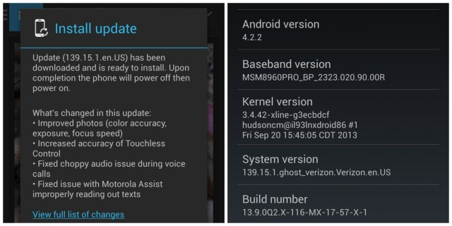 verizon moto x update