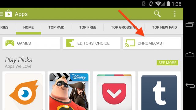 Chromecast app category on Google Play