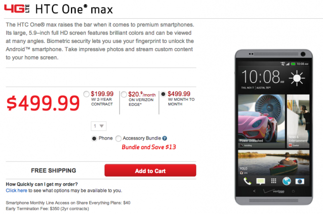 HTC One Max Verizon Wireless